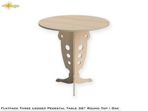 Flat Pack Round Pedestal Table Kit :  Oak