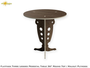 Flat Pack Round Pedestal Table Kit :  Walnut