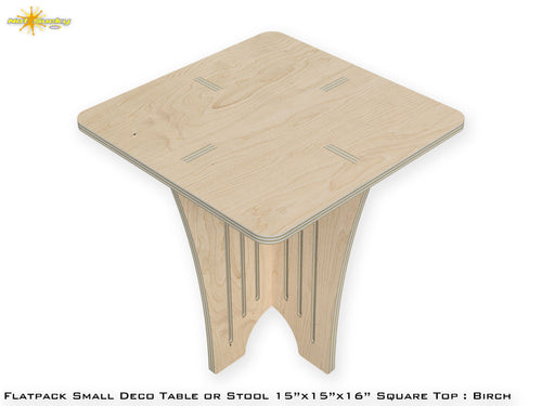 Flat Pack Small Deco Table or Stool : Birch Plywood