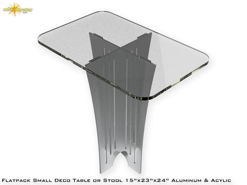 Flat Pack Small Deco Table or Stool - Acrylic and Aluminum