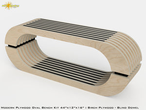 Modern Plywood Oval Bench Kit : Birch and Stain Black
