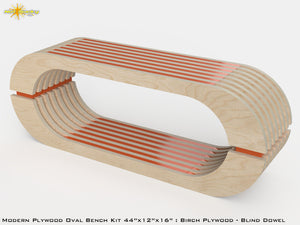Modern Plywood Oval Bench Kit : Birch and Stain Orange