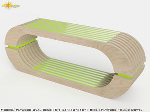 Modern Plywood Oval Bench Kit : Birch and Stain Lime