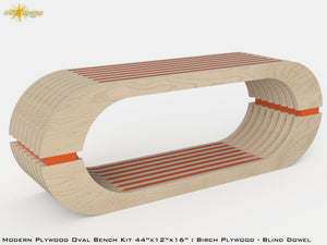 Modern Plywood Oval Bench Kit : Birch and Colored Fillers