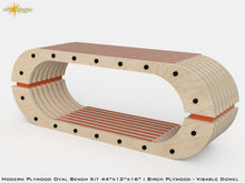 Load image into Gallery viewer, Modern Plywood Oval Bench Kit : Birch Plywood - Visible Dowel
