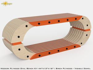 Modern Plywood Oval Bench Kit : Birch Plywood - Visible Dowel