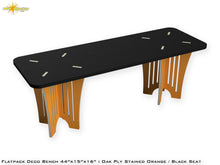 Load image into Gallery viewer, Flat Pack Oak Deco Plywood Bench - Stained Orange / Black