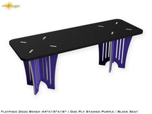Load image into Gallery viewer, Flat Pack Deco Oak Plywood Bench - Stained Purple / Black