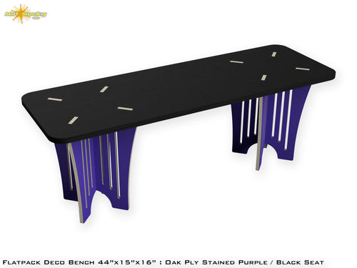 Flat Pack Deco Oak Plywood Bench - Stained Purple / Black