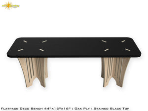Flat Pack Deco Oak Plywood Bench - Stained Black Seat