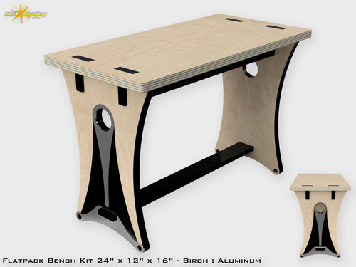 Flat Pack Modern Bench of Birch Ply and Aluminum