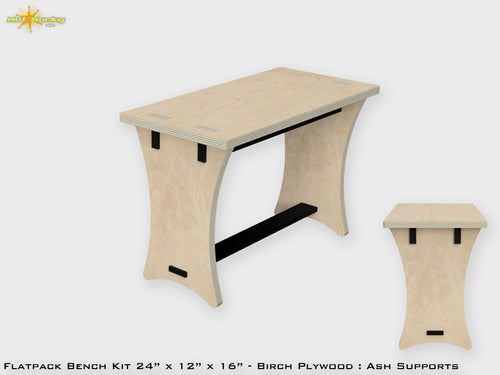 Flat Pack Modern Bench - Simple Birch Ply 24