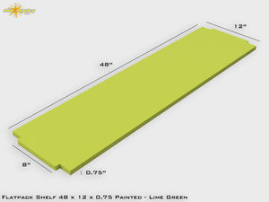 Flat Pack Shelf 48 x 12 : Painted Lime Green