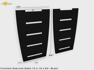 Flat Pack Shelving Side Pair 15 x 12 x 24 - Stained Black
