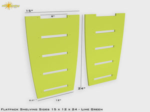 Flat Pack Shelving Side Pair 15 x 12 x 24 - Painted Lime Green