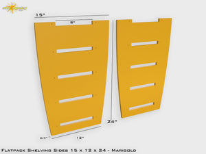 Flat Pack Shelving Side Pair 15 x 12 x 24 - Painted Marigold