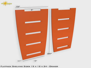 Flat Pack Shelving Side Pair 15 x 12 x 24 - Painted Orange