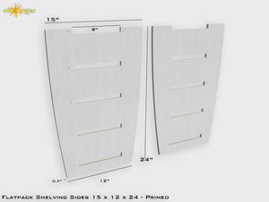Flat Pack Shelving Side Pair 15 x 12 x 24 - Primed