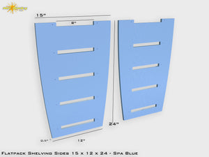 Flat Pack Shelving Side Pair 15 x 12 x 24 - Painted Spa Blue