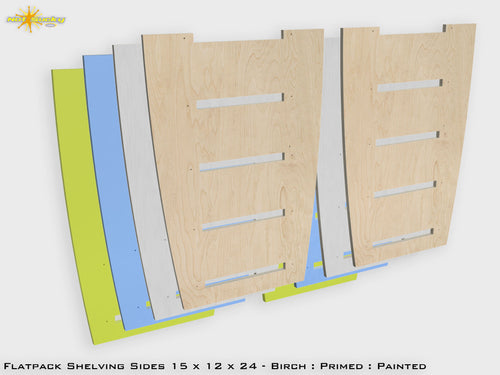 Flat Pack Shelving Sides 15 x 12 x 24 Birch/Primed/Painted