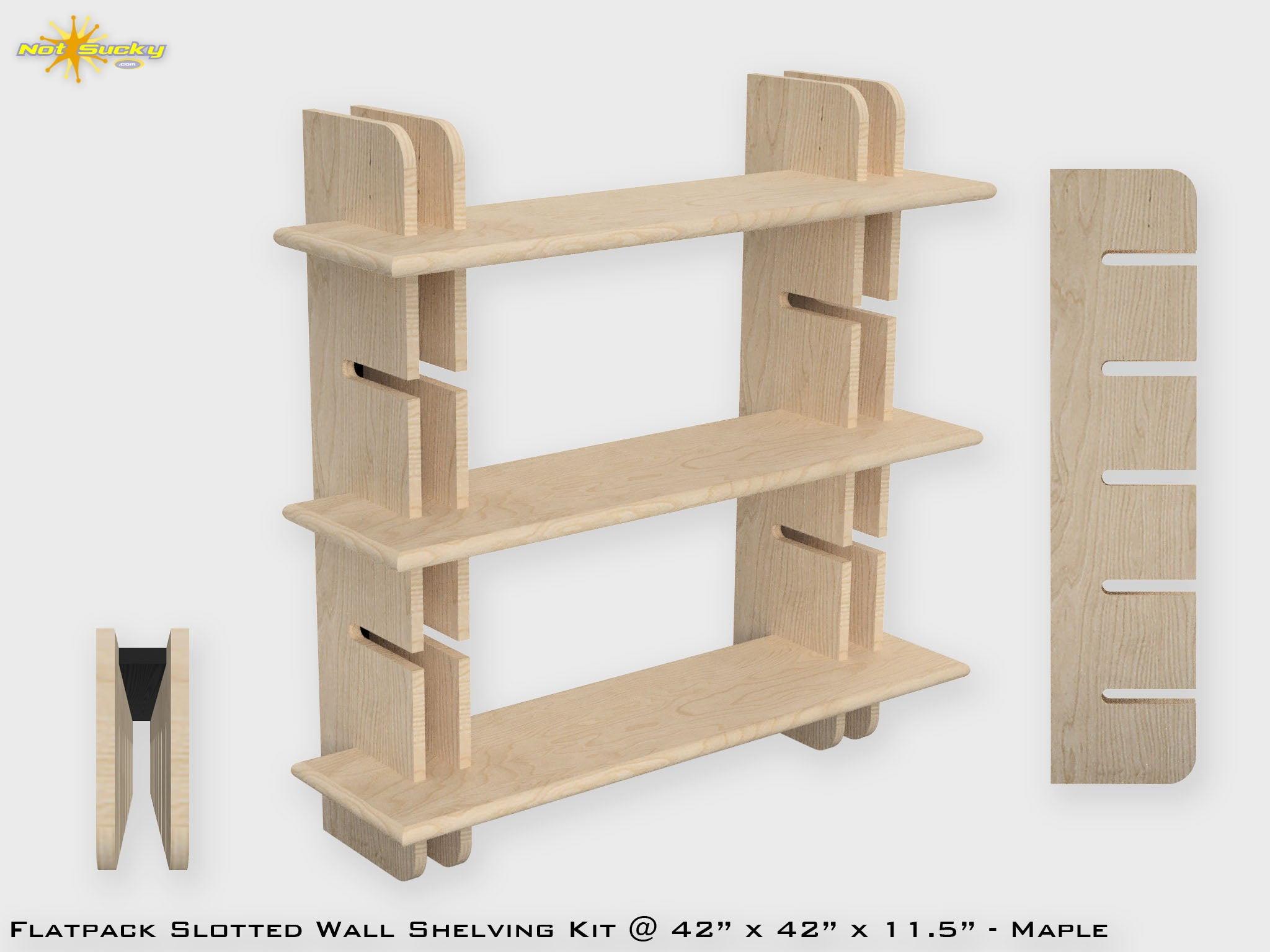 Load Image Into Gallery Viewer Flat Pack Slotted Modern Wall Bookshelf Kit