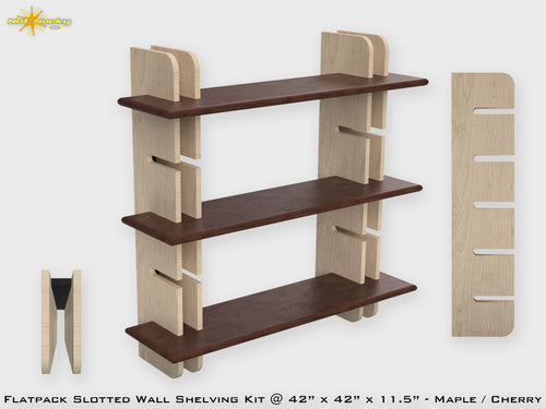 Flat Pack Slotted Modern Wall Bookshelf Kit - Maple / Cherry