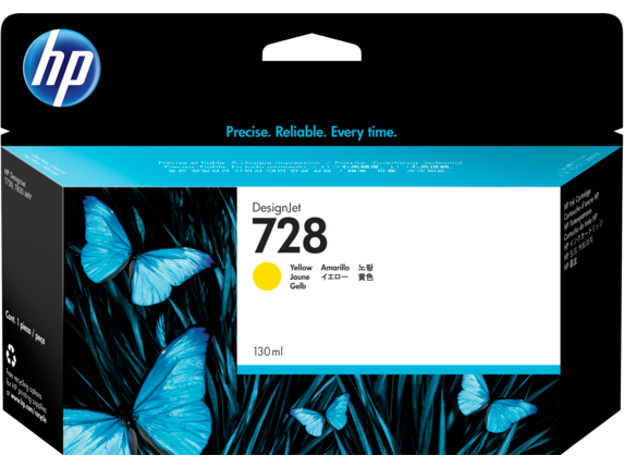 HP 728 130-ml Yellow DesignJet Ink Cartridge