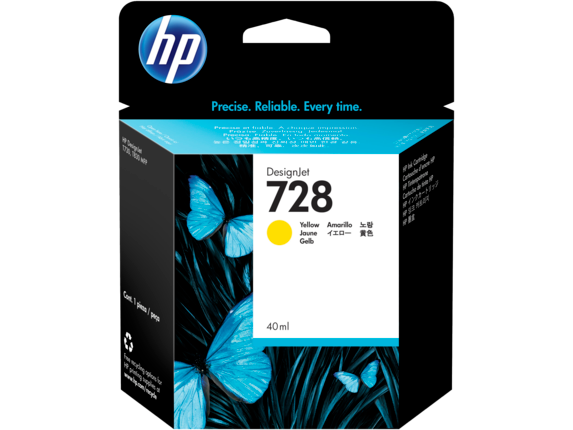 HP 728 40-ml Yellow DesignJet Ink Cartridge
