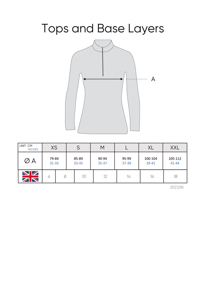 Tops and Base Layers Size Guide