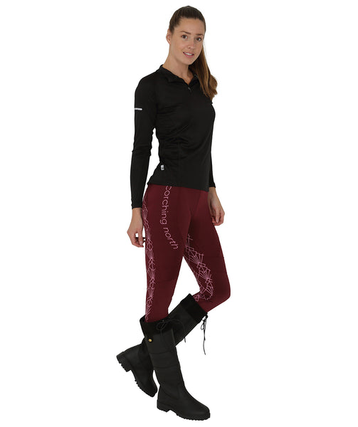 GEO High Waist Riding Tights - Burgundy/Pink