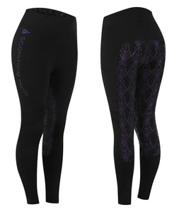 GEO High Waist Riding Tights - Black/Purple