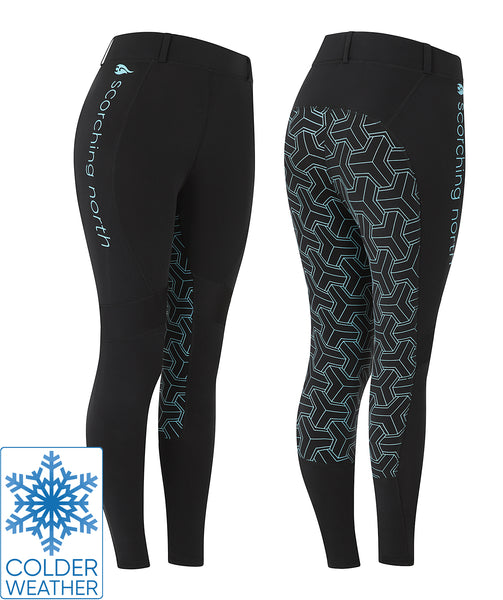 THERMO Technical Riding Tights - Black/Turquoise