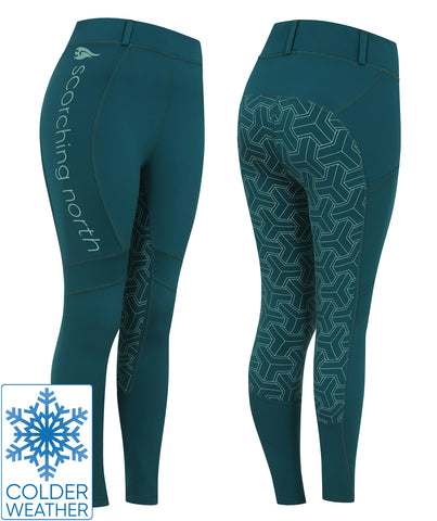 THERMO Technical Riding Tights - Teal/Green