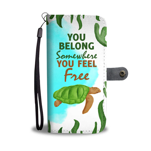 Somewhere You Feel Free Turtle Wallet Case