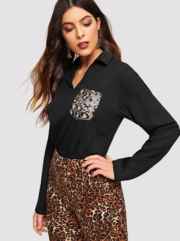 V-cut Neck Sequin Patched Blouse