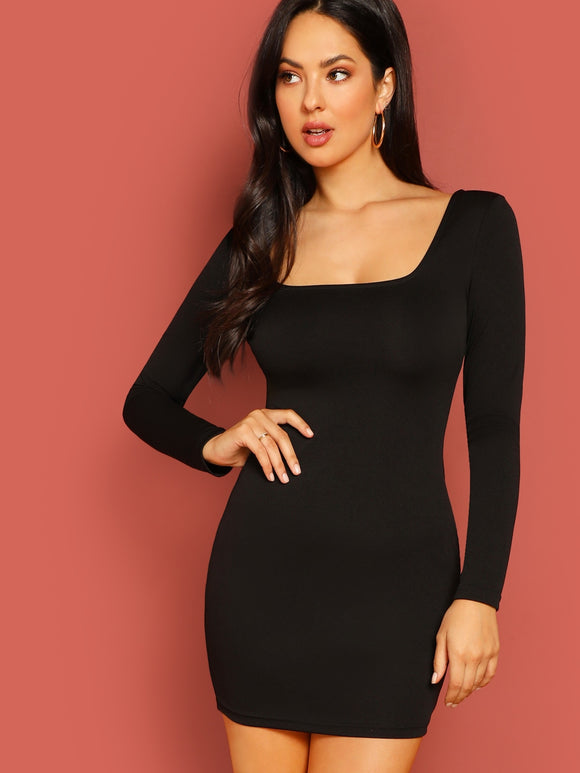 Form Fitting Solid Dress