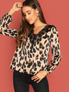 Lace Trim Leopard Satin Top