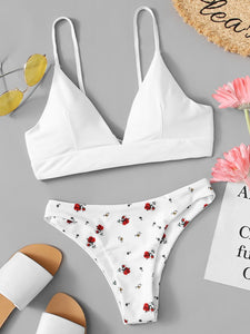 Lace Up Back Top With Floral Pattern Bikini Set