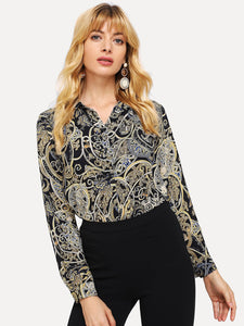 Scarf Print Single-breasted Blouse