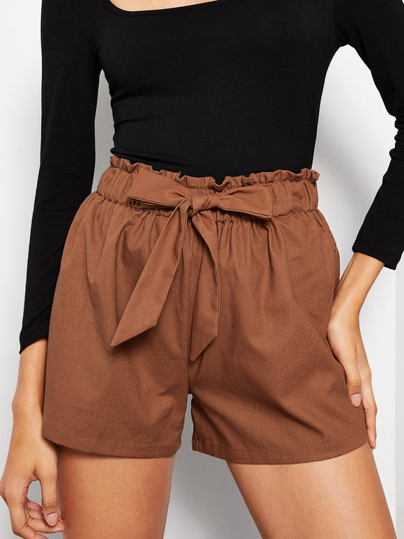 Elastic Waist Knot Solid Shorts
