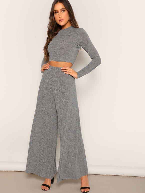 Slim Fitted Crop Tee & Wide Leg Pants Set