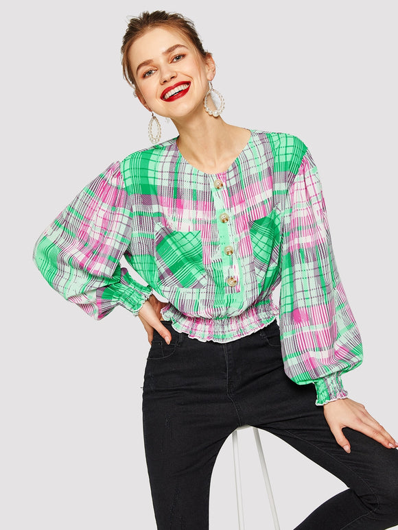 Pocket Patched Lantern Sleeve Shirred Panel Blouse