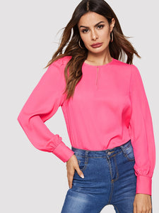 Keyhole Back Neon Pink Top