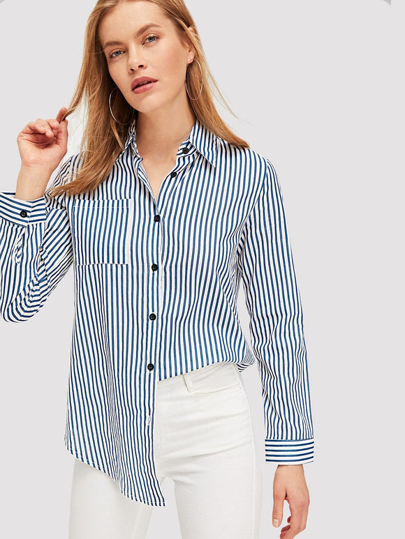 Single-breasted Striped Blouse