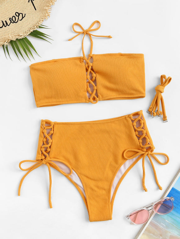 Removable Strap Bandeau Top with Lace-up Bikini Set