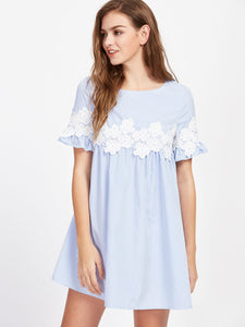 Floral Lace Applique Frill Sleeve Striped Babydoll Dress