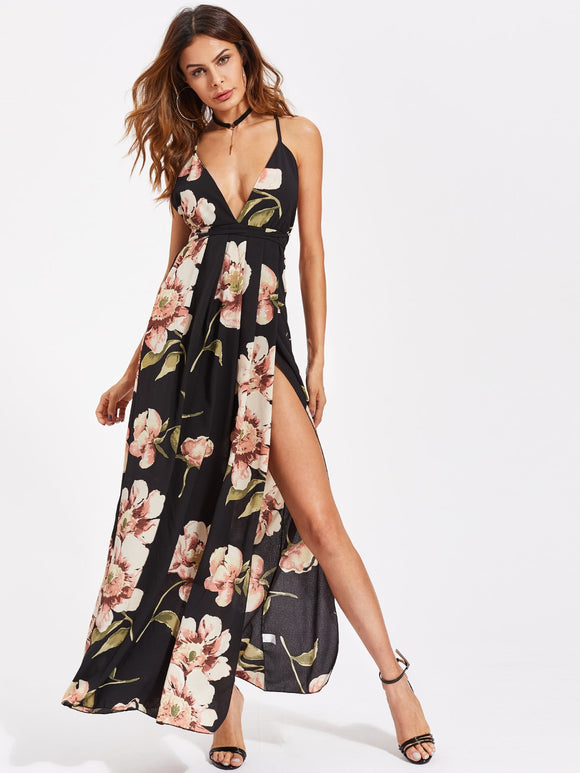 Plunging Strappy Back High Slit Florals Dress