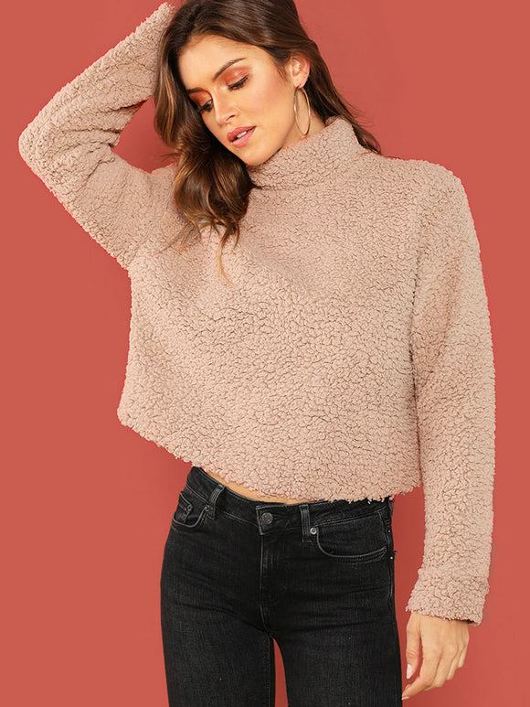 Mock-neck Solid Teddy Pullover