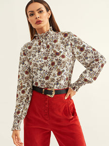 Frilled Neck Flower Print Blouse