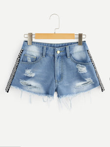 Shredded Checkered Ripped Faded Denim Shorts